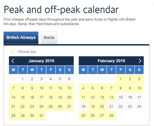 BA Peak & off-peak calendar 18