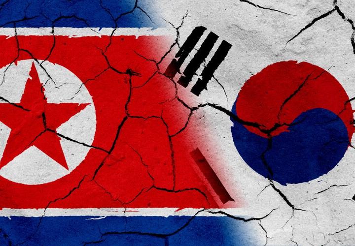 North & South Korean flags