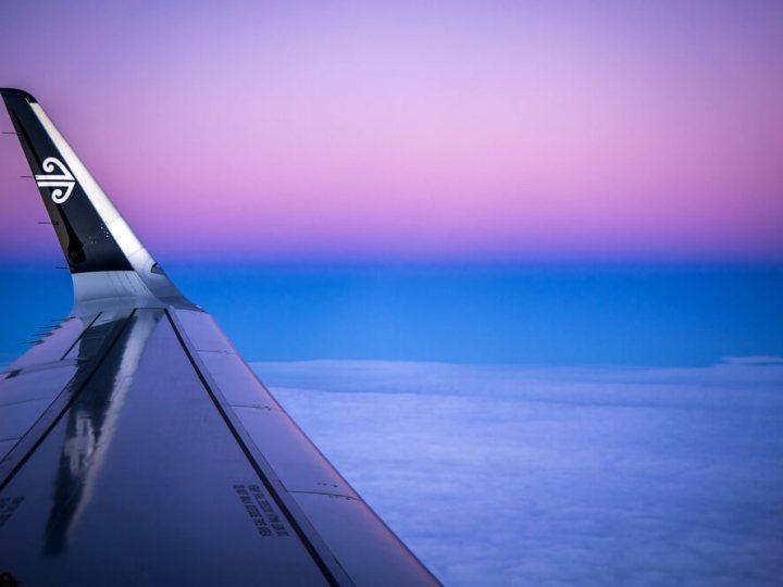 Air New Zealand plane at sunset