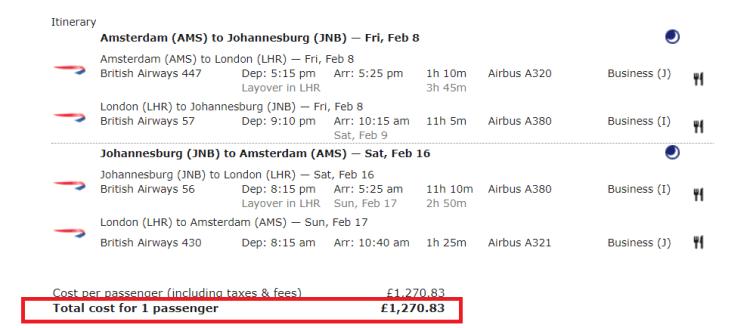 BA biz example JNB via Amsterdam