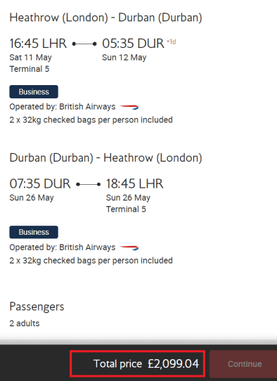BA Dream Tickets Durban pricing example