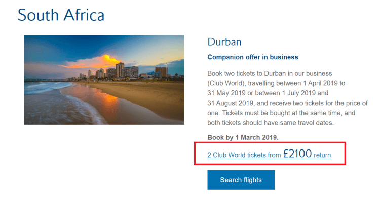 BA Dream Tickets Durban