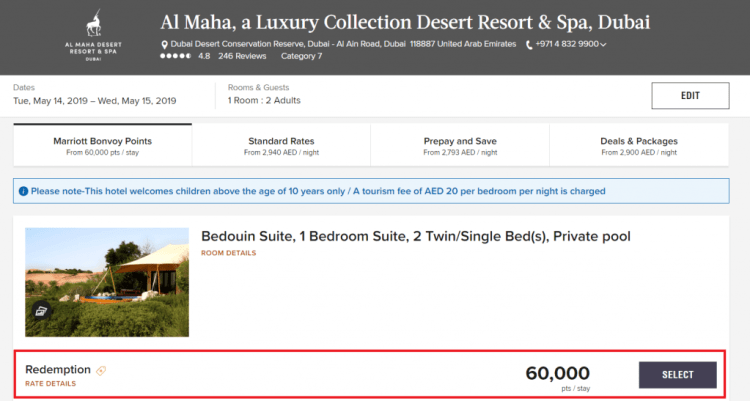 Marriott Bonvoy 60k pricing example