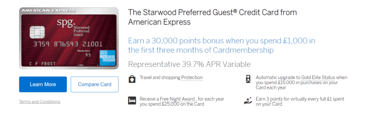 SPG Amex card listing on Amex UK website