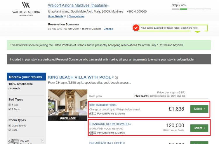 Waldorf Astoria Maldives pricing example