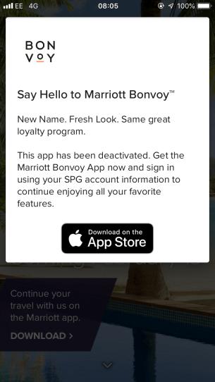 Marriott Bonvoy app prompt