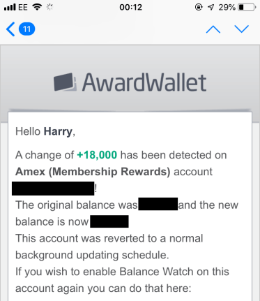 Award Wallet Balance Watch notification