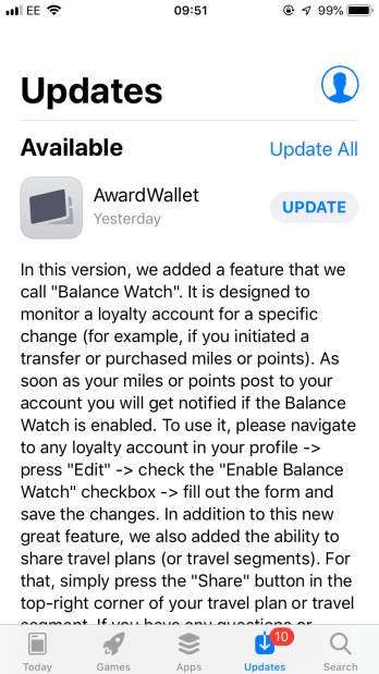 Award Wallet Balance Watch feature update