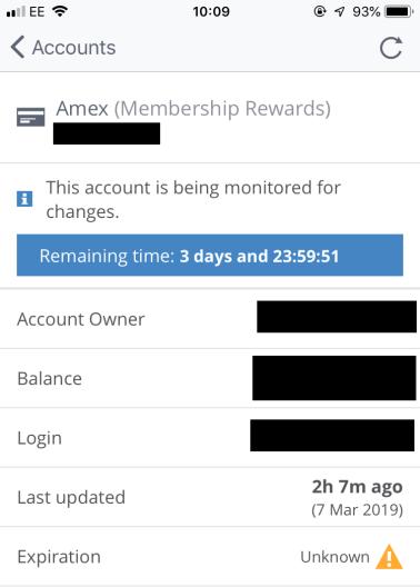 Award Wallet Balance Watch alert set