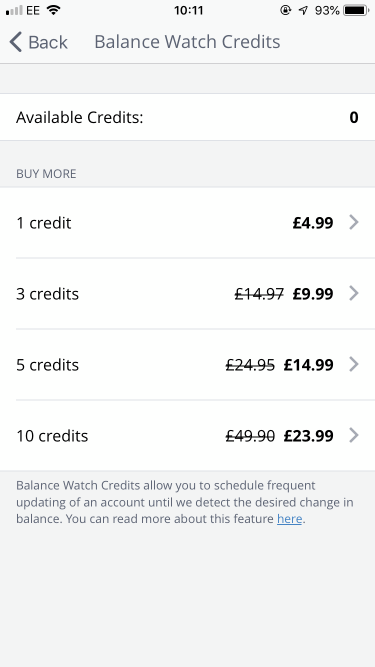Award Wallet Balance Watch credit pricing
