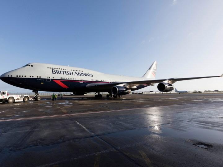 British Airways 747 in retro Landor livery
