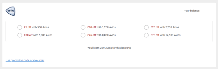Part Pay with Avios (BA) example 1