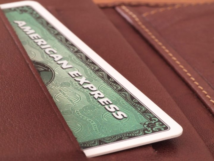 American Express Green Card in leather wallet