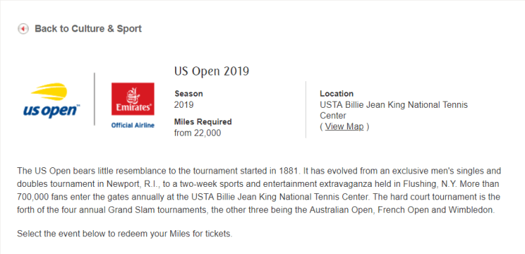 Emirates US Open tickets