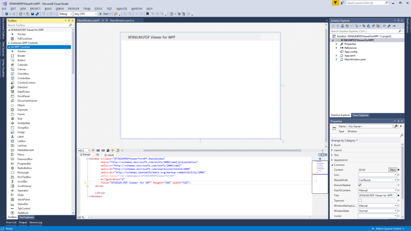 Getting started with XFINIUM.PDF viewer in WPF applications