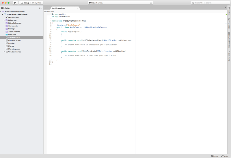 Getting started with XFINIUM.PDF viewer in Xamarin.Mac applications