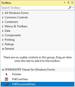 Add XFINIUM PDF Viewer for Windows Forms to Visual Studio