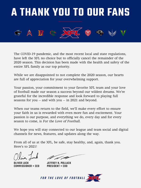 XFL 2020 Season Cancelled