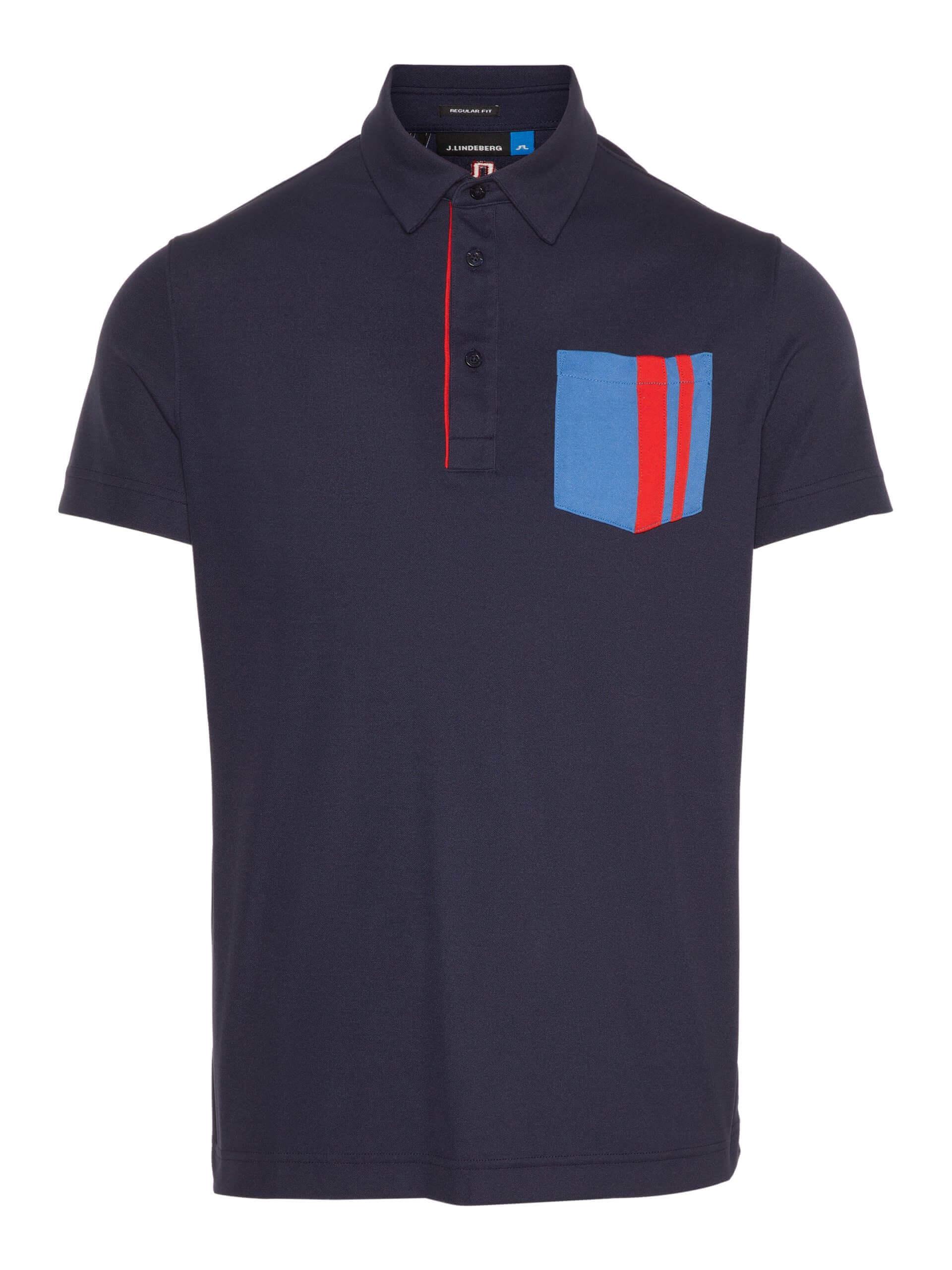 J.Lindeberg - OWEN Reg LUX Pique in navy with blue & red front pocket