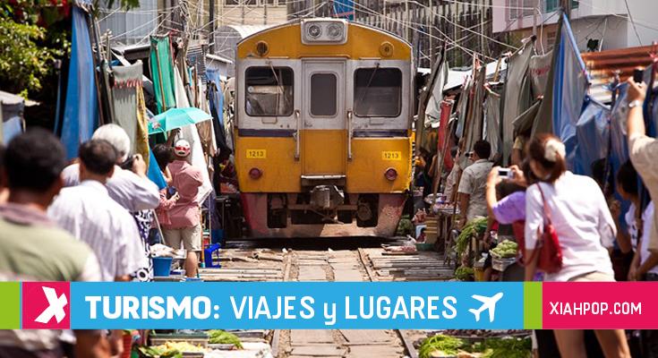 El peculiar mercado tailandés sobre las vías del tren