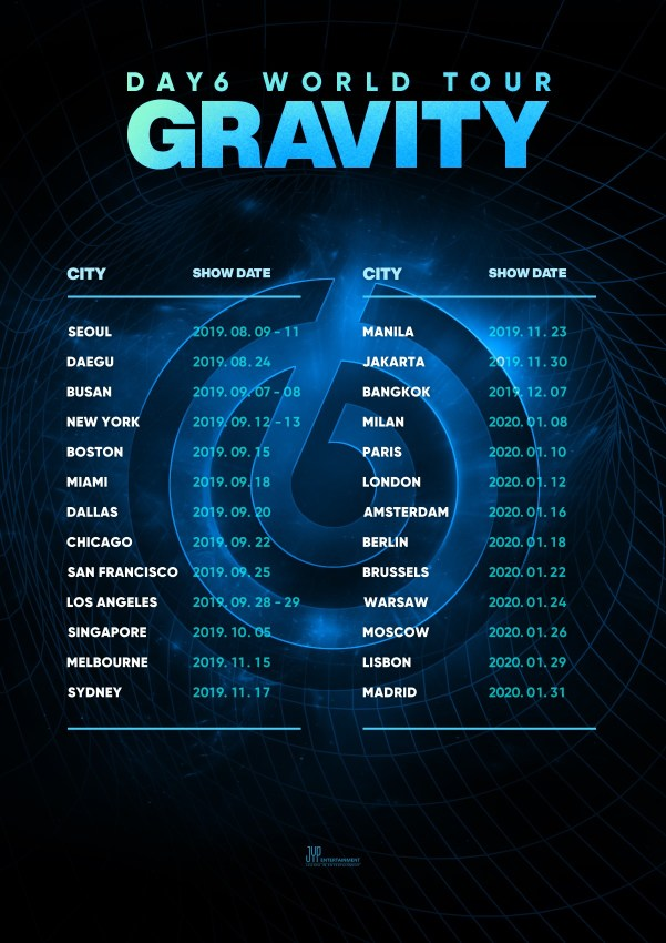 Day6 anuncia su DAY6 WORLD TOUR GRAVITY