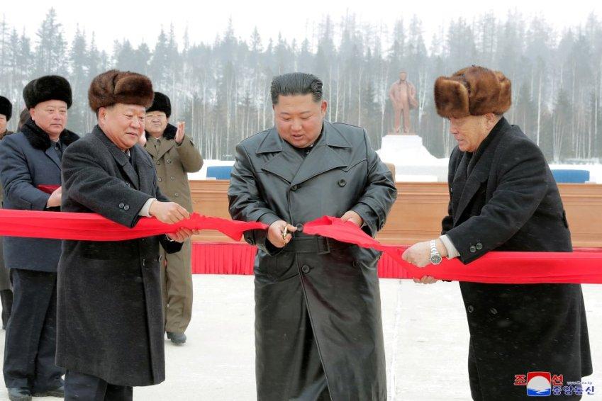 Kim Jong Un en la inauguración de Samjiyon