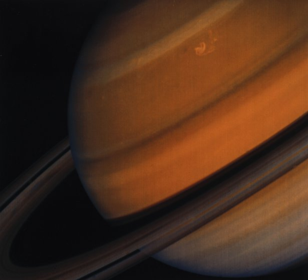 UNITED STATES - MAY 13: Clear ring structure as well as a distinct gap between the rings can be seen in this photograph of Saturn taken by Voyager 2. The characteristic banded cloud formations in the gas giant planet?s atmosphere are also clearly visible. The origin and formation of the rings, which are composed of ice and ice-coated dust and rock, are not precisely understood, but it seems that tidal effects caused by some of Saturn?s moons play a role in maintaining their structure. The two Voyager spacecraft were launched by NASA in 1977 to explore the planets in the outer solar system. After first visiting Jupiter, Voyager 2 passed Saturn in August 1981, before continuing on to Uranus and Neptune. (Photo by SSPL/Getty Images)