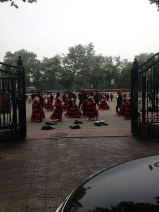Dancers prepping