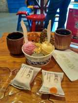 Amazing local ice cream, flavors being: red date, green tea, almond-sesame, and most interestingly brown sugar-ginger roasted sweet potato