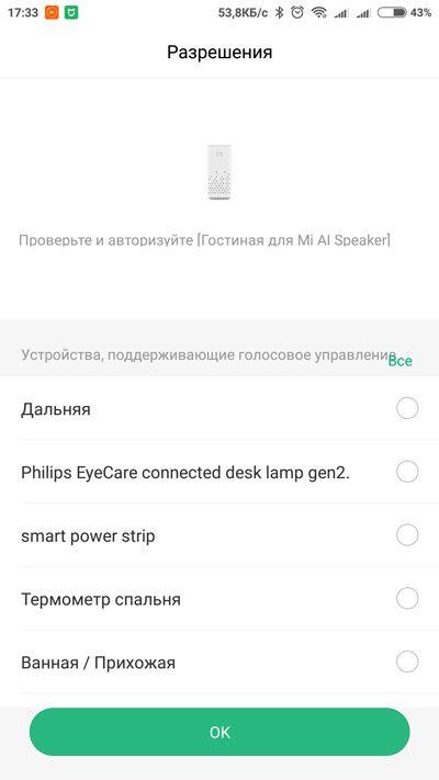 Доступ колонки к устройствам MiHome