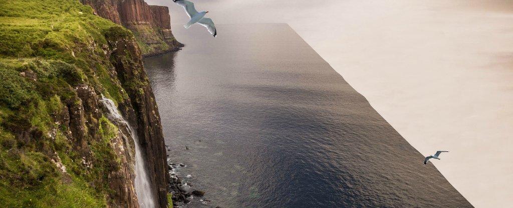 """Arte fotográfica sobre como seria a chamada Terra Plana. Na imagem, se vê o """"fim do mundo"""" como sendo uma queda infinita de água."""