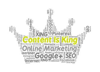 "image that shows ""Content is King"" as well platforms where we can use content marketing"