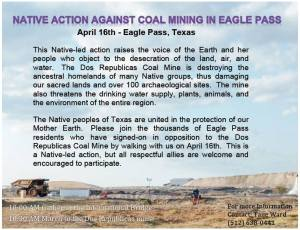 4/16 EAGLE PASS, TX: Native action against coal mining