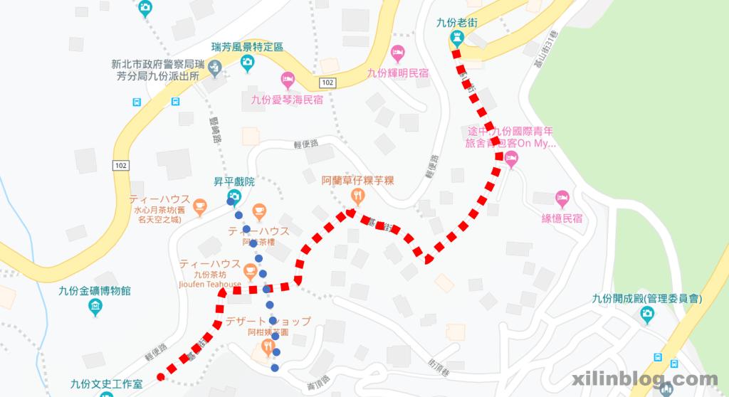 九份老街の地図