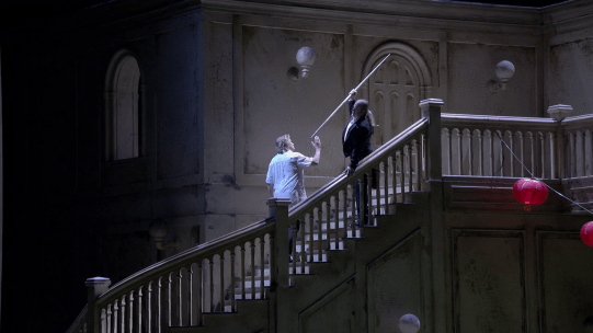 Klaus Florian Vogt (Parsufal) i Evgeny Nikitin (Klingsor) Producció de Claus Guth Teatro Real 2016