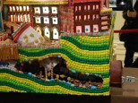 Detail of the Seattle gingerbread village: underground Seattle complete with stuck tunnel machine and money going into the tunnel. 204 holiday Season, Seattle.