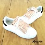 flecos zapatillas rosa plateado par
