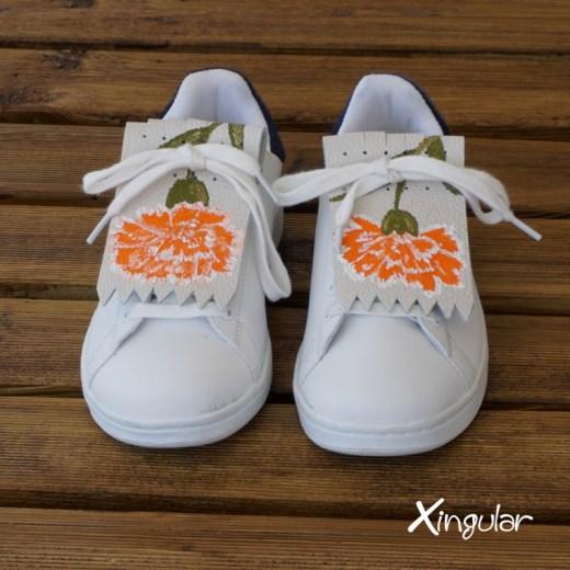 flecos zapatillas claveles naranja par juntos