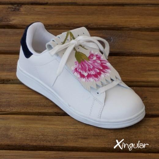 flecos zapatillas claveles rosas