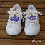 flecos zapatillas claveles violetas par juntos
