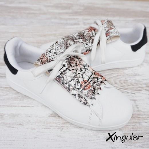 flecos zapatillas serpiente floral par 2
