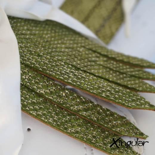 flecos zapatillas escamas pistacho detalle