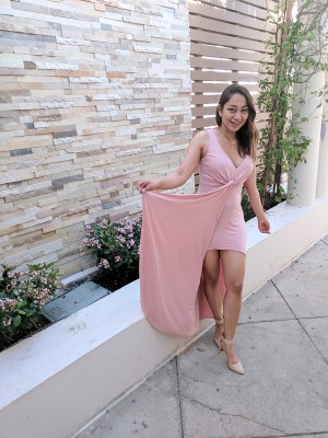 girl with pink dress