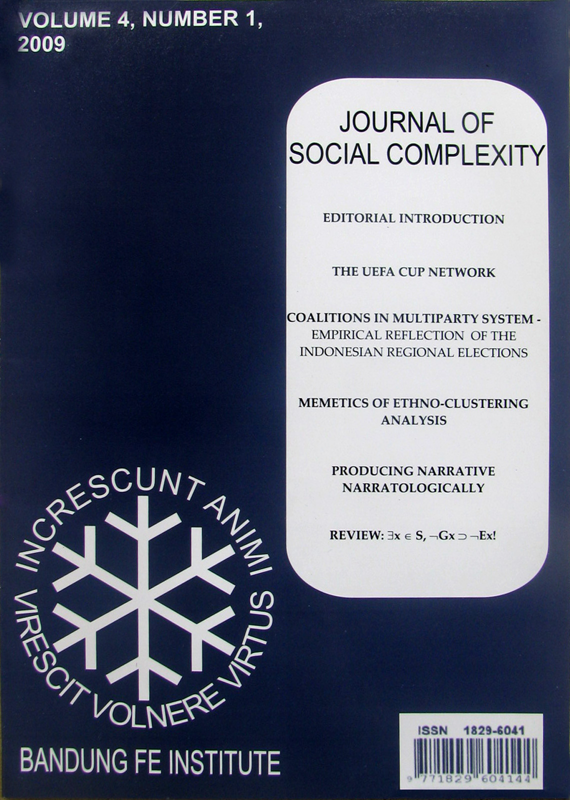 Journal of Social Complexity Volume IV No.1/2009