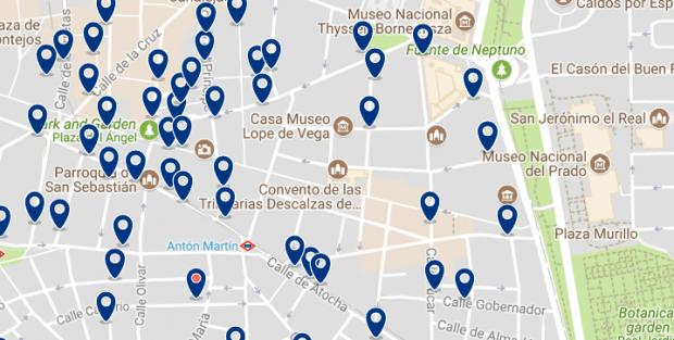 Dónde dormir en Madrid para vida nocturna - Las Letras & La Latina - Haz clic aquí para ver todos los hoteles en un mapa