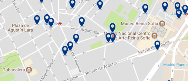 Dónde dormir en Madrid para vida nocturna - Lavapiés - Haz clic aquí para ver todos los hoteles en un mapa