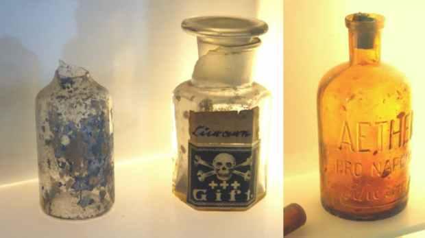 Objetos de la enfermería del campo de concentración de Sachsenhausen