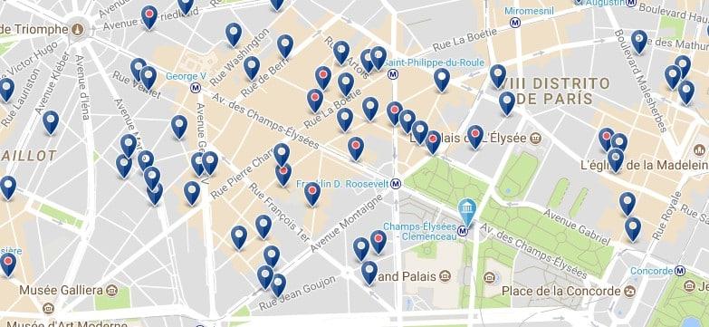 París - Champs Élysées - Haz clic para ver todos los hoteles en un mapa