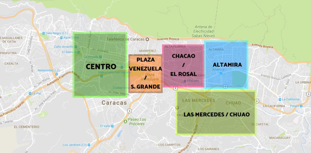 Mejores zonas para dormir en Caracas - Mapa