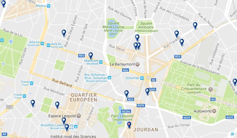 Dónde alojarse en Bruselas - Barrio Europeo - Haz clic para ver todos los hoteles